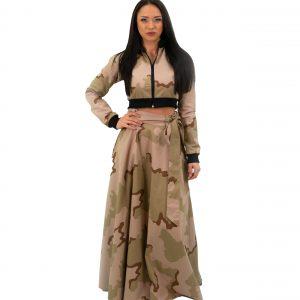 дамски комплект с пола и топ от камуфлажен плат