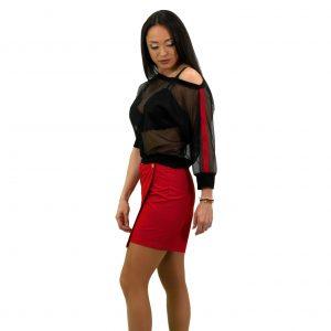 Дамска блуза с мрежа и кант